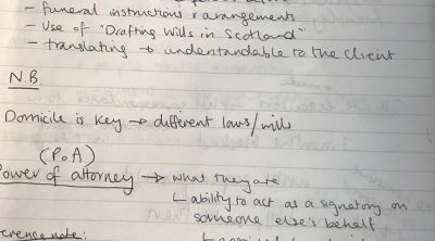 Personal law notes - will and power of attorney